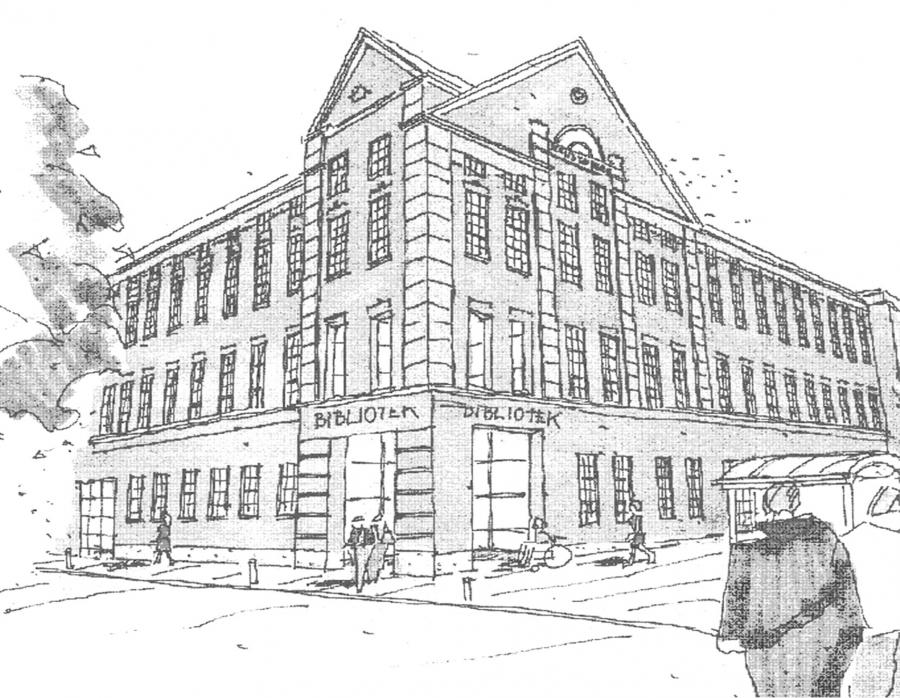 tegning af Morsø Folkebibliotek